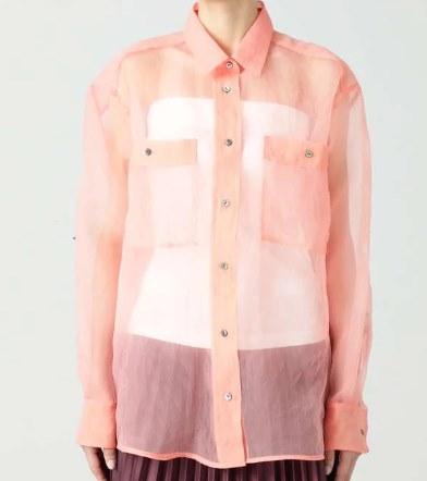 多部未華子 ネオンカラーピンク シースルーシャツ