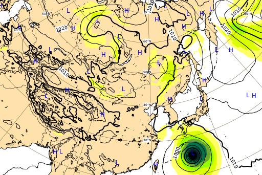 ヨーロッパ中期予報センター 台風10号 進路予想図 9月5日
