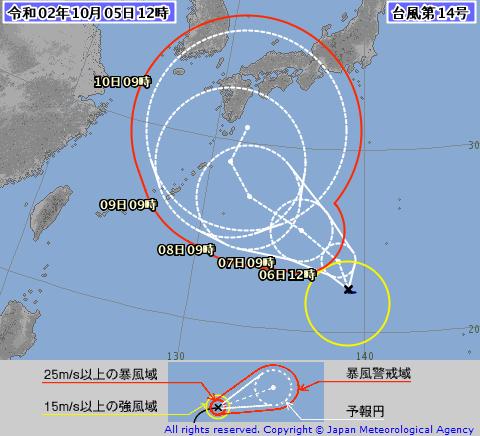 2020年台風14号(チャンホン) 気象庁 進路予想