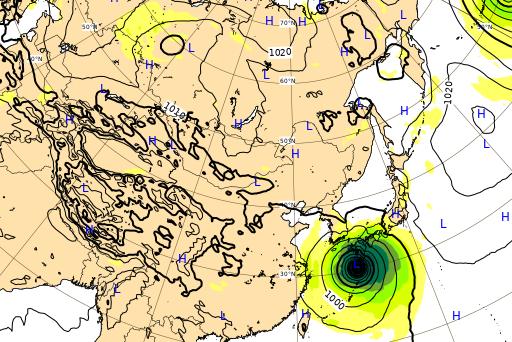ヨーロッパ中期予報センター 台風10号 進路予想図 9月6日