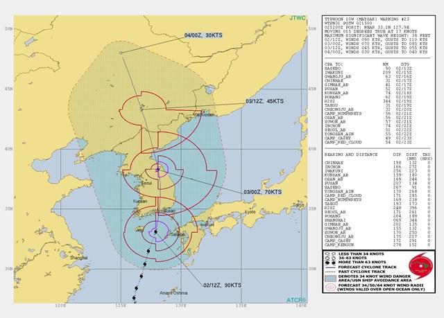 米軍 台風進路予想図 台風9号 2020