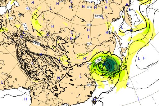 ヨーロッパ中期予報センター 台風10号 進路予想図 9月7日