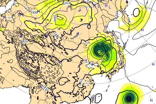 ヨーロッパ中期予報センター 台風10号進路予想図