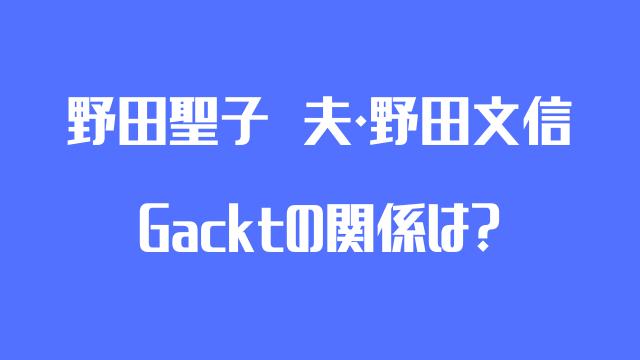 野田聖子 Gackt 野田文信